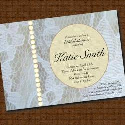 Printable Lace and Buttons Bridal Shower Invitation