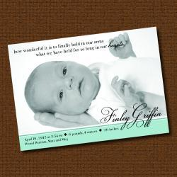 "Printable ""How Wonderful"" Photo Birth Announcement"